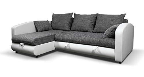 Avanti trendstore - nino - divano ad angolo con funzione letto e cassettone salvaspazio integrato. disponibile in 2 colori diverse. dimensioni: lap 235x82x172 cm (bianco-grigio)
