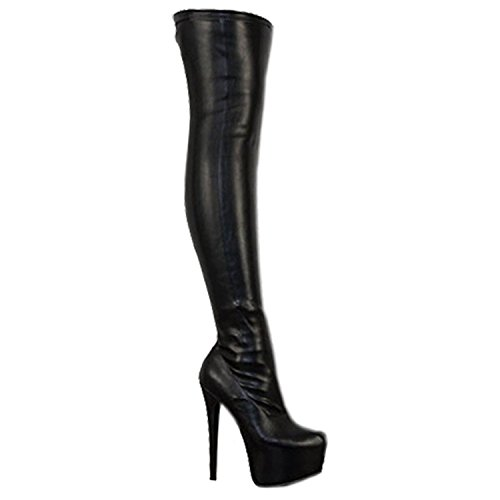 Damen Overknee-Stiefel mit Stretchanteil - High Heels aus Kunstleder - Schwarz PU - EUR 40