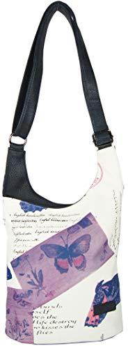 CASAdiNOVA - Umhängetasche Damen Groß - Blau Butterfly - Crossbody Bag - PU Leder Schultertasche - Messenger Handtasche - Damen Tasche - premium Qualität -