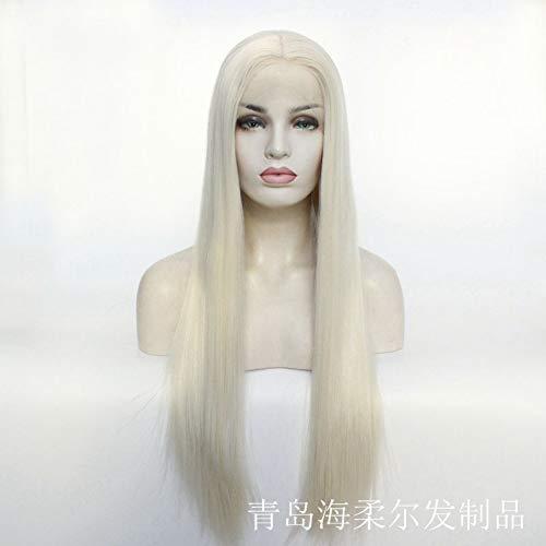 Women'S Front Lace-Typ Silber-Weiß Lange Glatte Haare Perücke Semi-Mechanical Half-Hand Hook Craft Kann Bronze Größe 14