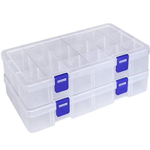 Qualsen scatola in plastica stoccaggio scatole divisori mobili organizzatore contenitore per dell'orecchino strumento accessori (18 scomparti x 2, trasparente)