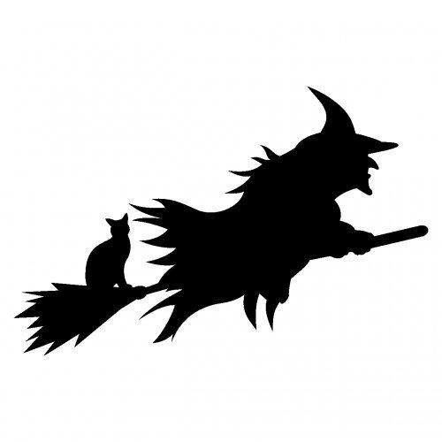 loween Hexe Autoaufkleber in 9 Größen und 25 Farben (10x6,5cm schwarz) (Halloween Katzen Bilder)