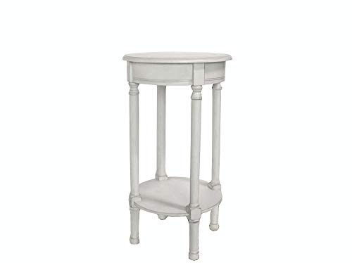 Vily's House Mesa Auxiliar telefonera o Porta macetas de Forma Redonda en Madera Maciza Estilo Provenzal en Color Blanco grisáceo Antiguo