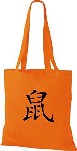 ShirtInStyle Stoffbeutel Chinesische Schriftzeichen Ratte Baumwolltasche Beutel, diverse Farbe orange