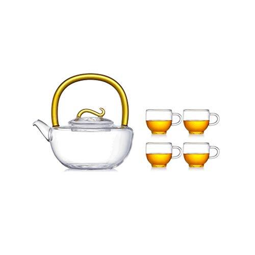 Théière, Théière Plus chaud, haute borosilicate Théière, épaisse 4cups, boucles Pot Couvercle, poignée de ligne de lisse, couleur Craft, poursuite de qualité de vie Jxlbb jaune