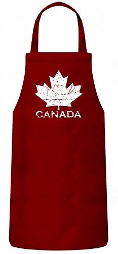 Shirt Happenz Canada Maple Leaf #4 Schürze | Kanada | Flagge | Ahornblatt | Kochen & Backen | Grillschürze, Farbe:Rot (Red PW102);Größe:60cm x 87cm - Logan Baumwolle