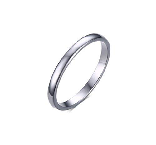 Blisfille Ringe Silber Damen Edelstahl Ringe Frauen Wolframcarbid Ring Damen Bandringe 2mm Verlobungsringe Silber Frauen Ring Gr. 60 (19.1)