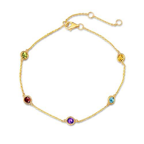 14 Karat 585 Gelb Gold Armband mit Natürlichem Peridot Citrin Topas Granat Amethyst für Damen Mädchen - Armbandlänge: 17 + 3 cm (Peridot Und Gold-armband)
