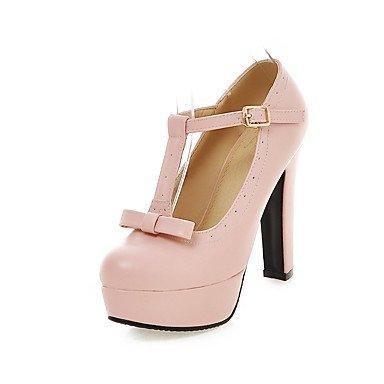 Talons Femme Printemps Eté Automne Autre PU Casual Chunky Heel Bowknot Noir Rose Beige Pink