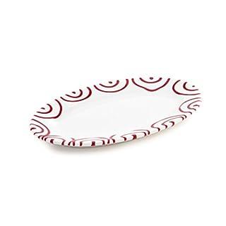 Gmundner Keramik Manufaktur 0182POGO21 rotgeflammt Platte, oval/Fahne Gourmet, 21 x 14 cm