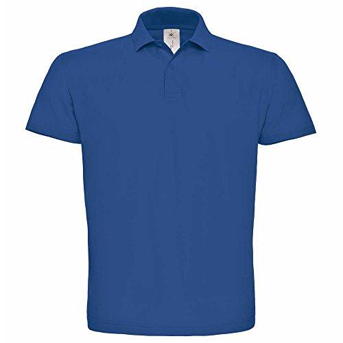 B&C Mens Short sleeved polo shirt with Rib Flat collar S,M,L,XL,XXL,3XL Royal Blue