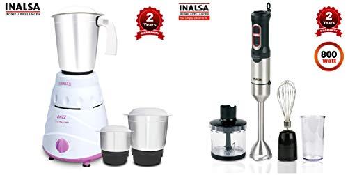 Inalsa Jazz 550-Watt Mixer Grinder + Inalsa Hand Blender Robot INOX 1000 Powerful 3 in 1