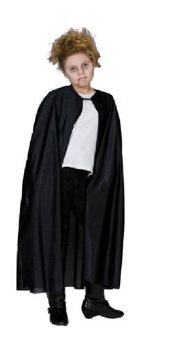 Umhang Kostüm Dracula für Kinder schwarz lang ohne Kragen Gr. 116, 128, 140, 152, 164, Größe:128 (Vampir Kostüm Zubehör)