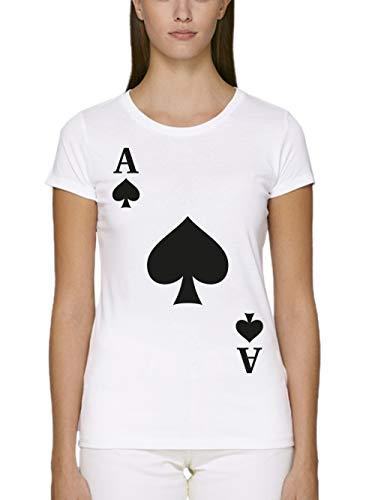 clothinx Damen T-Shirt Fit Bio und Fair Karneval & Fasching Spielkarte Pik Ass Kostüm Weiß Größe - Pokerspieler Kostüm