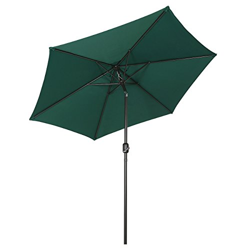 Sekey 2.7m Parasol inclinable pour Patio Jardin Balcon Piscine Plage Rond Sunscreen UV50+ Vert