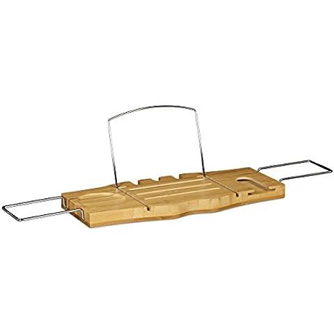 Relaxdays Estante para Bañera de baño, soporte para libro y para vaso de vino, bambú, marrón, 21x 74x