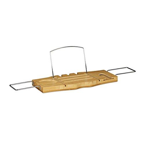 Relaxdays Pont de baignoire extensible bain porte-livre porte-verre de vin bambou porte-savon télescopique inox support salle de bain tablette de bain relaxation détente, nature