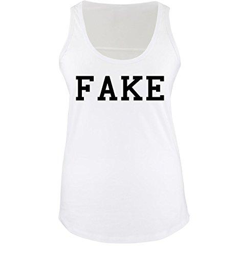 Fake Besten Bart (Comedy Shirts - FAKE - Damen Tank Top - Weiss / Schwarz Gr.)