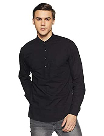 Diverse Men's Solid Slim Fit Casual Shirt (DCMCF03SC08L03-248C_Black_S)