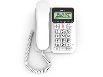 BT Decor 2600-CID-TAM = Answer Machine Version + Call Blocker + Caller Display - Hands Free Speaker Phone (Corded Telephone) - Desk / Table Mounting Bracket Included - Caller ID - TrueCall Advanced Call Blocking - White