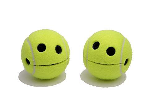 Pigallume 2er Set Smile Happy Tennisball mit hochwertigem Saugnapf jeweils in 2 transparenten Geschenkboxen lustig Notizhalter Geschenk Tennis Wilson Originalprofiball Aufbewahrung Geschenkidee