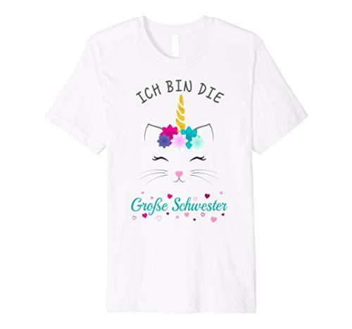 Grosse Schwester Frauen T-shirt (Ich Bin Die Große Schwester Katze Einhorn T-Shirt)