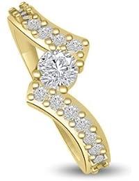 0,35 quilates G/VS1 Anillo solitario de compromiso de diamante para mujer con Redonda diamantes en 18k Oro amarillo
