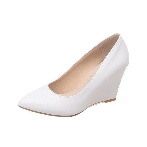 Odomolor Damen PU Leder Hoher Absatz Spitz Zehe Rein Ziehen auf Pumps Schuhe, Weiß, 43