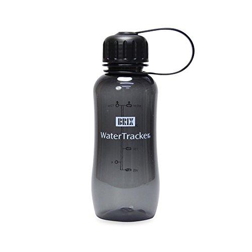 Brix-Borraccia Water Tracker, 0,3Litri-Senza BPA -, Nero, XS