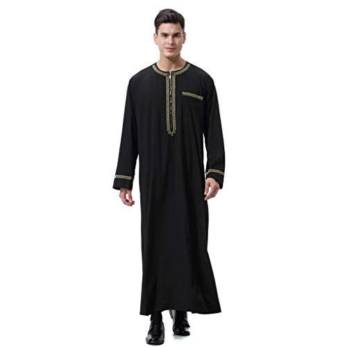 Camiseta Manga Larga,Algodón y Lino para Hombres, diseño Bordado, túnica árabe de Manga Larga con Cierre_Internet(Negro S-3XL)