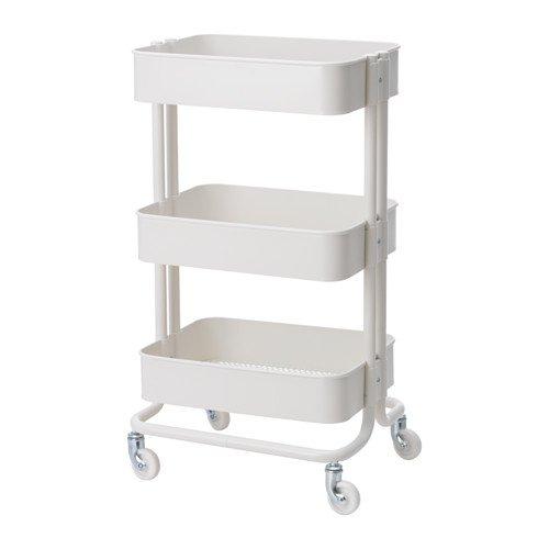"""IKEA Servierwagen \""""RÅSKOG\"""" Küchenwagen Teewagen Barwagen Badezimmerwagen aus Stahl - mit leichtgängigen Rollen - Maße: 35x45x78 cm - WEISS"""