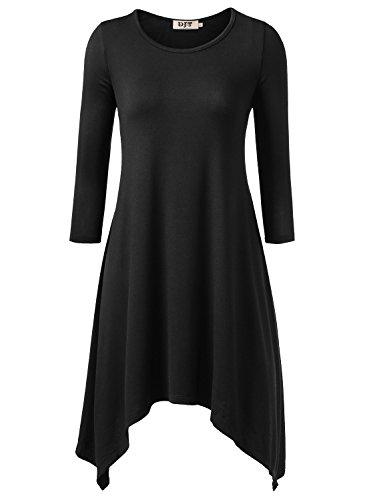 DJT Femme Robe Elastique Pull Irrigulier Sweats Noir pure