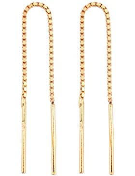 18K Rotgold vergoldet 925 Silber Durchzieher Ohrringe - ARLIZI 0938