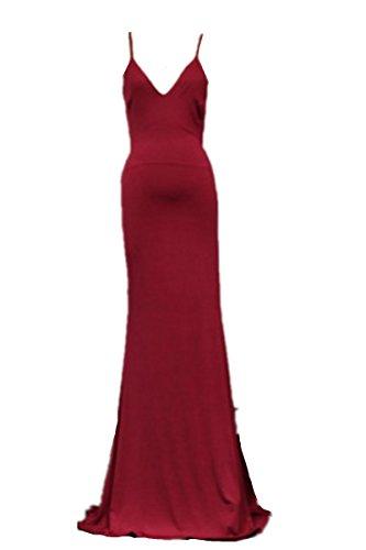 EMIN Damen Abendkleider Ohne Arm Festlich Kleider Lang Brautkleid Sexy Kleider Damen Elegant Partykleider Rot Chiffon Burgund