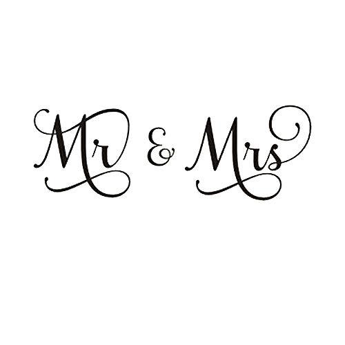 Homefind 127cm W x 43,2cm H Buchstaben-Mr & Mrs-Abnehmbare Family Wandtattoo Aufkleber Schriftzug Vinyl Wand Kunst für Schlafzimmer (Vinyl-schablone Buchstaben)