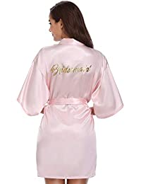 ffd701d4c3 Vlazom Bride Bridesmaid Robes Satin Bridal Party Robe Dressing Gown