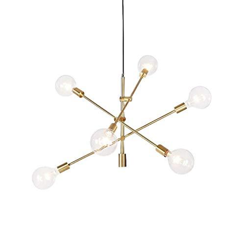 Wuhl Shop Lampen-Leuchter Weinlese-Anhänger Licht Leuchten Satellite Hängelampe 6-Licht-E27 Lampenfassung Messingmetall for Wohnzimmer Schlafzimmer Arbeitszimmer Restaurant -
