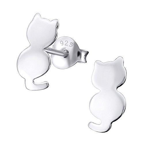 Laimons - Pendientes planos con forma de gato para niña - Plata de ley 925