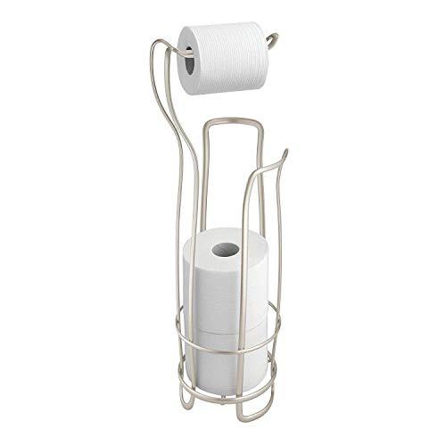 DAYUMAOJIN Porte papier toilette, porte-papier de toilette chromé pour salle de bain, solution pratique de rangement du papier toilette en métal pour 4 rouleaux, argent