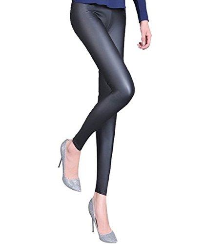 A-Express Damen Nass Look Blick Leggings Glänzend Glanz knöchellang Leggins Wetlook Treggins - EU 46