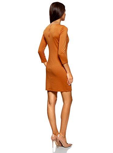 oodji Ultra Damen Kleid mit Metall-Deko auf den Schultern Orange (5900N)