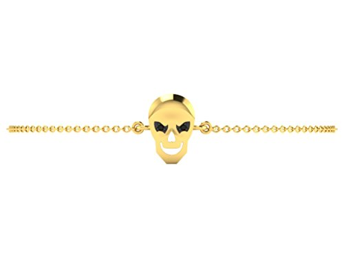 Or Jaune 9 ct Bracelet Diamant en forme de crâne, 0.01 Ct Diamant, GH-SI, 1.69 grammes.