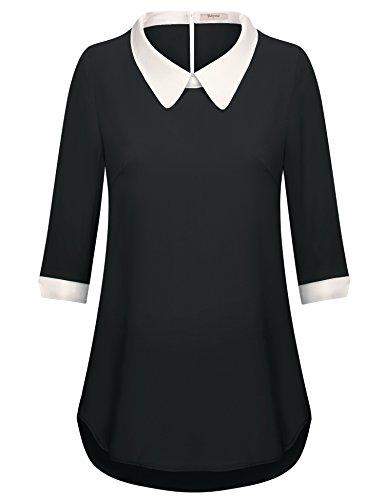 Bebonnie Kontrast Bubikragen Bluse für Mädchen, Damen 3/4 Ärmel Chiffon Freizeithemd Tops Schwarz X-Large