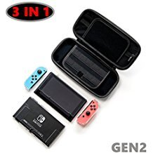 Accessories for Nintendo Switch including EVA Portable Travel Carrying Case with 20 game card slots,Transparent Switch Cover, Tempered Glass Screen Protector and Joy-Con Contr Marvel Screen Protector