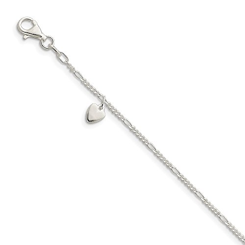 IceCarats Designer Jewellery Sterling Silver 10Inch Polished Dangling Hearts On Figaro Anklet