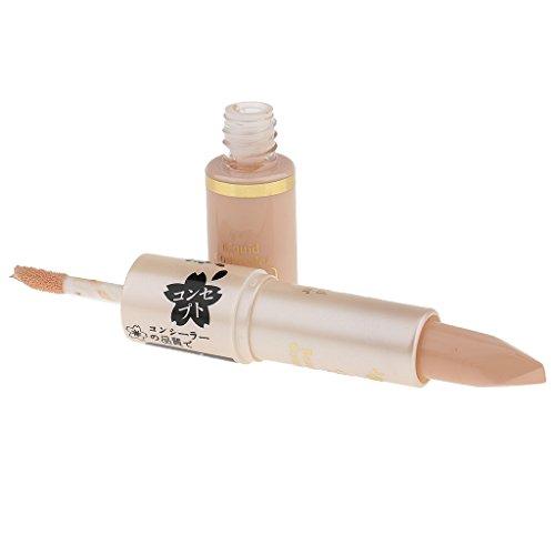 D Dolity 2 en 1 Professionnel Correcteur Liquide et Crèmeux à Maquillage Naturel pour Cacher Taches, Acnés, Grandes Pores - 3 #, 10,5 * 1,8 cm