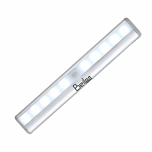 10 LED Drahtloser PIR Bewegungs-Sensor-Nachtlicht-Stab-bewegliche Lampe Schnurlose Beleuchtung Eingebauter Magnet mit Blatt-Eisen u. 3M Klebeband für Wandschrank-Wand-Wand