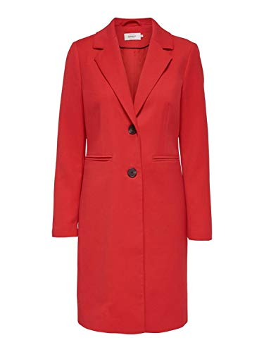 ONLY Damen Mantel onlCHERYL Spring Coat CC OTW, Rot High Risk Red, 36 (Herstellergröße: S)
