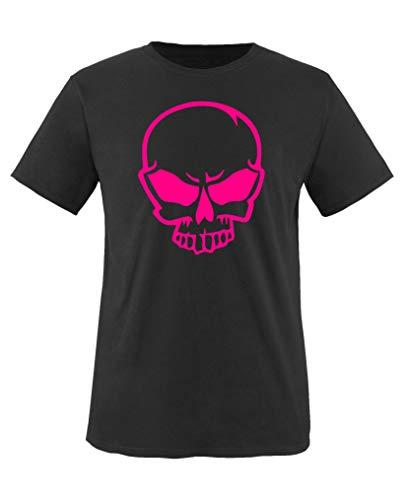 Comedy Shirts - Halloween Schaedel - Mädchen T-Shirt - Schwarz/Pink Gr. 152-164