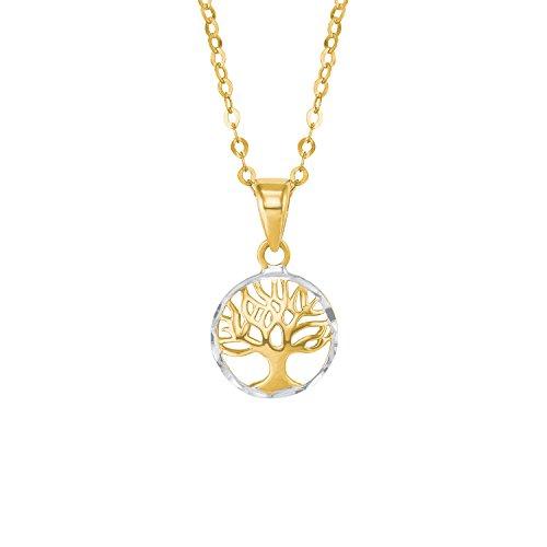 amor Damen-Halskette mit Lebensbaum-Anhänger aus 585er Gelbgold